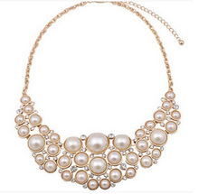 SF4-67 Jewelry Fashion Necklaces For Women Temperament Bohemia Pearls Imitation Diamond Statement Pendant Necklace(China (Mainland))