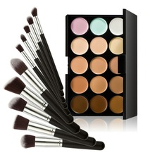 W7Tn# 15 Colors Contour Cream Makeup Concealer Palette 10pcs Brush Black Silver