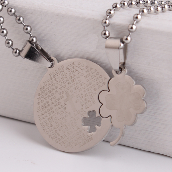 Clover flower Bible cross couple lovers Stainless Steel pendant necklaces for men women wholesale(China (Mainland))