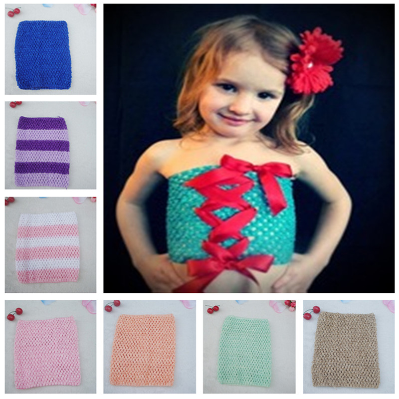 2016 Top sales Retail 9 Inch Tutu Crochet Tube Top Baby Stretch Colored Tutu Headband 33colors in stock Free Shipping(China (Mainland))