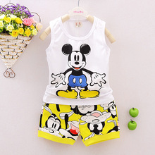 Baby Boy Clothing Set Sleeveless Shirt + Shorts Kid Clothing Set Mickey Pattern Children Clothing Set Vest Summer Syle(China (Mainland))