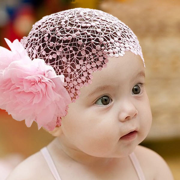 FreeShipping Toddlers Girls Kids Lace Hat Big Flowers Hat Sewing Cap Headband 1-6T 2 Colors DropShippingFree shipping L6(China (Mainland))