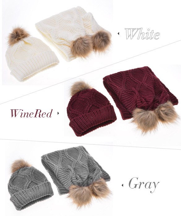 Hot Sale ! 2015 Winter Cap Women Fashion Lady Warm Ski Slouch Hats Casual Cap + Knitted Scarf Set 30