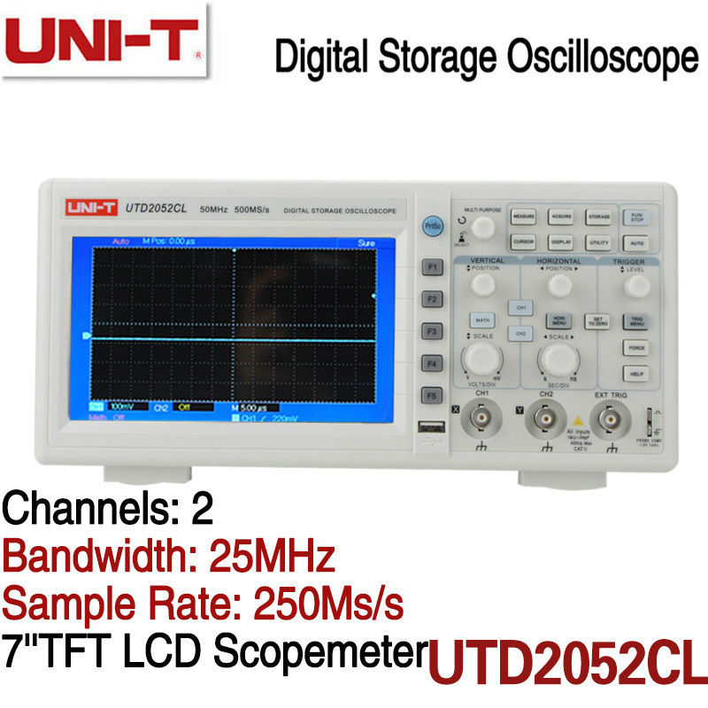 Buy Digital Color 50MHz 2Channels 500MS/s Bench Oscilloscope 7inches TFTLCD 800x240 UTD2052CL in High Quality Now<br>