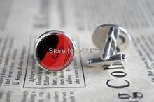 10pairs/lot Double Bass Graphic Design Silver Plated Cufflinks lds Mormons ctr Cuff Gift for Him Round Glass Cuff ,(China (Mainland))