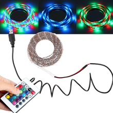 Free Shipping USB Cable DC5v 3528 RGB led strip light double PCB 60led/m stripe tape lamp + Remote Controller for TV Background(China (Mainland))