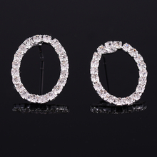 2016 Top Quality Earrings Stud Women Round Shape Sliver Plated Clear Crystal Oorbellen Lady Fashion Accessory N114
