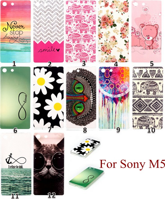 For Sony M5 Funda Hot Marketing Cute Flower Owl Painted Soft Silicone TPU Back Cover Case For Sony Xperia M5 Ultra Thin sp204(China (Mainland))
