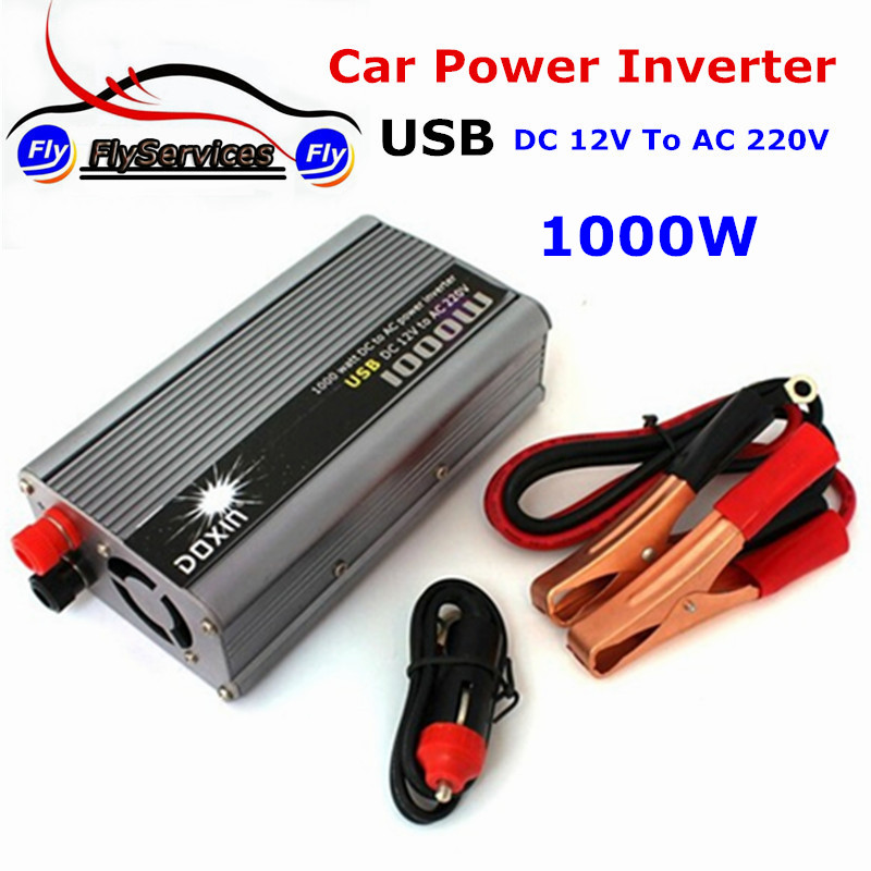 In Stock Car Power Inverter 1000W DC 12V to AC 220V Car Battery Charger Universal With USB Port(China (Mainland))
