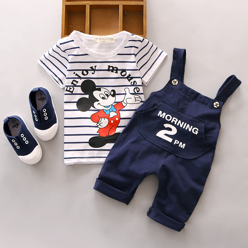Summer Girls Outerwear Mickey Baby Clothing Set Cute Cartoon 2pc Short Sleeve T-Shirt+Pants Children'S Set Outfits Boys Clothing(China (Mainland))