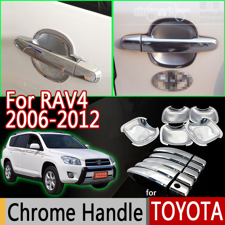 For Toyota Rav4 Accessories Luxurious Chrome Exterior Door Handle Covers Accessories Stickers
