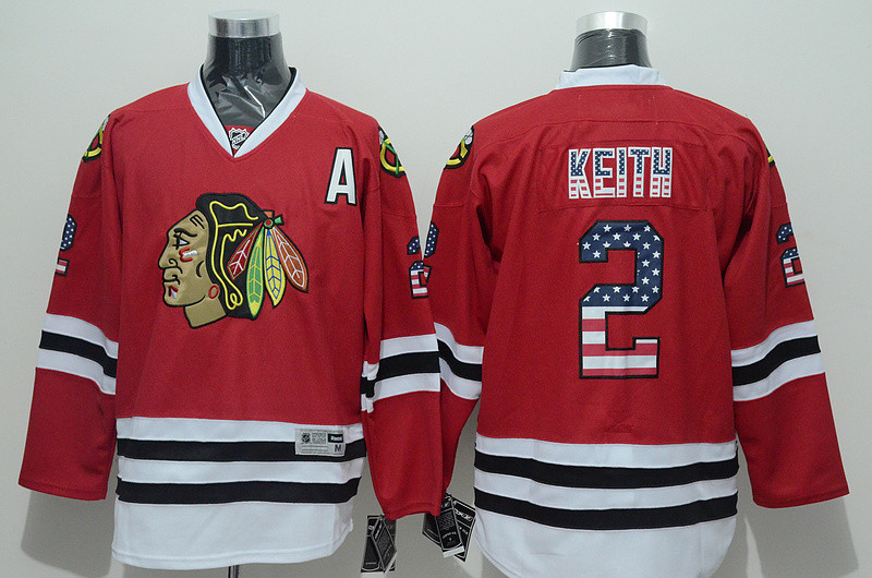 Chicago Black hawks #2 Duncan Keith Men's NHL Jersey Limited Flag Edition Ice Hockey Jersey 100% Stitched Logos Free Shipping