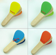 Lovely Kids Child Baby Wooden Castanet Clapper Handle Musical Instrument Toy Preschool Early Educational Hand Clapper(China (Mainland))