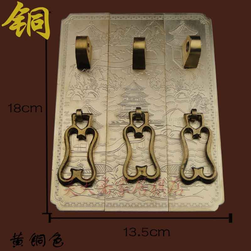 [Haotian vegetarian] antique furniture copper fittings / top cabinet kit / copper engraving / landscape models HTC-199<br><br>Aliexpress