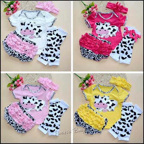 Newborn Baby Girl T-shirt Ruffles Bloomers Cotton Legwarmers Headbands Set,Cow Baby Girl Clothes,Roupas De Bebe Menina,#A0007(China (Mainland))