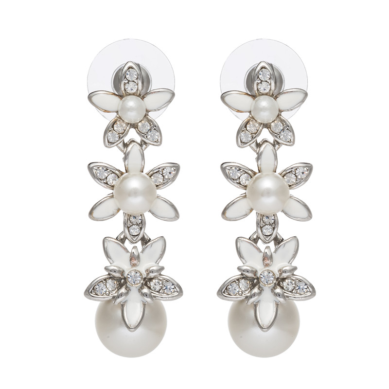 2016 new arrivals top selling withe flower long Zinc Alloy earrings free shipping for women(China (Mainland))