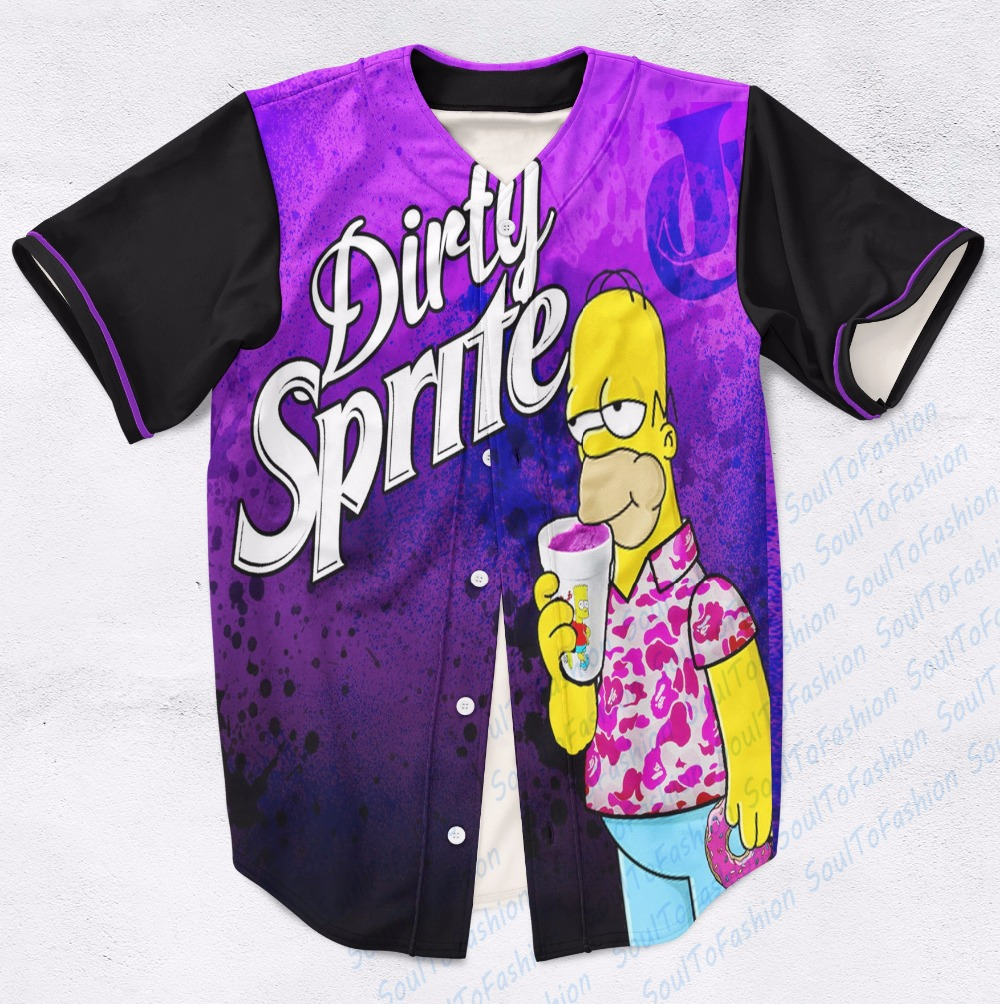 Real USA Size Custom made Fashion 3D Sublimation Print Dirty Sprite Baseball Jersey Plus Size(China (Mainland))