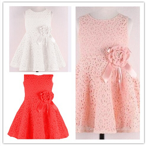 Big Promotion Best Selling 2015 New Arrival Girl Princess Dress O neck Sleeveless Flower Detail Hollow out Design Girl Dress(China (Mainland))