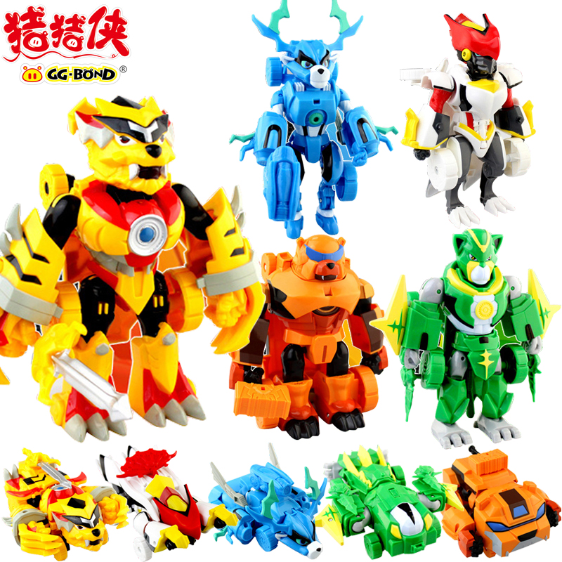 GG Bond Tiger Crane Deer Bear Monkey Five Elements Valiant Transformation Robot Animal Car ABS kids toys gifts collection model(China (Mainland))