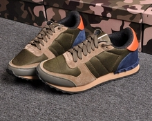 unisex U371 40 41 42 43 44 genuine leather camo stud sneakers