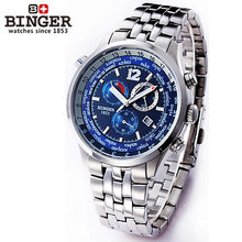 2016 Binger Multifunction Watch Mens Army Sports Multiple Time Zone Watches Auto Football Stopwatch Mechanical Wristwatches