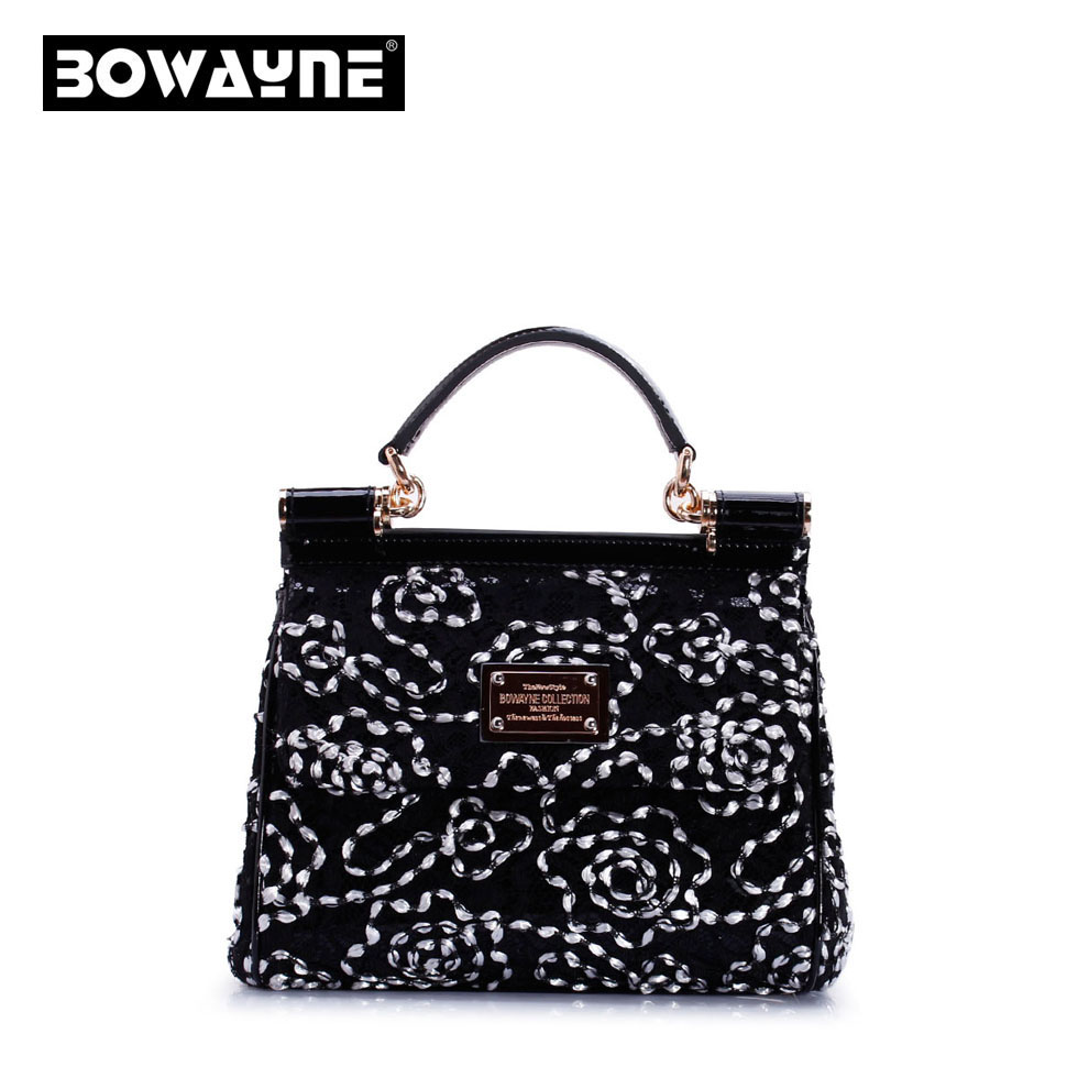 Gentlewomen Lace Bag Flower Bag Fashion Genuine Leather Handbag Cross Body Womenu0026#39;s Bags-inTop ...