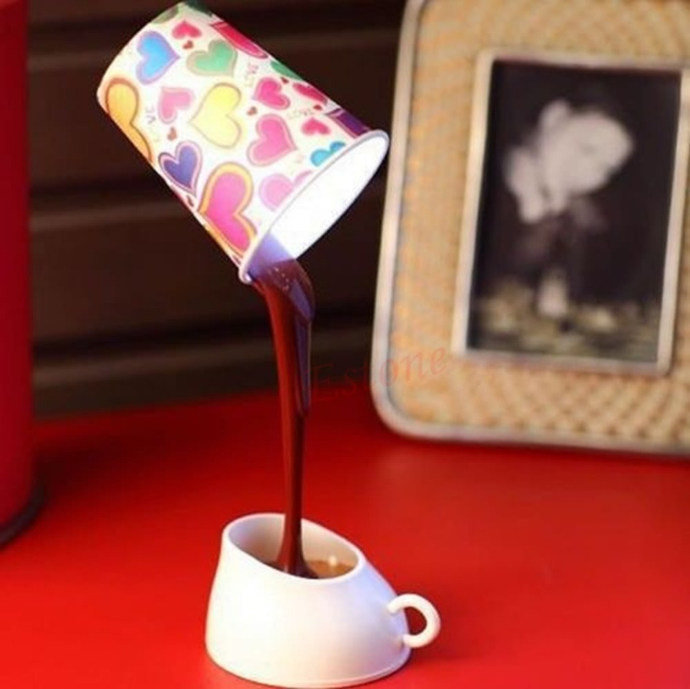 A96 Free Shipping Novelty DIY LED Table Lamp Home Romantic Pour Coffee Usb Battery Night Light(China (Mainland))