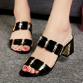 2016 summer new Korean female coarse fish mouth sandals with high heeled shoes with Rhinestones sexy