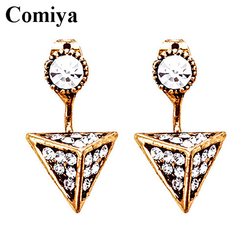 New 2015 Fashion european trency triangle charms transparent rhinestones girl earrings wholesale anti plating fashion earring(China (Mainland))