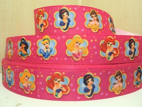 10Y1502 kerry ribbon free shipping 1'' princess printed ribbon Grosgrain ribbon whole sale and OEM(China (Mainland))