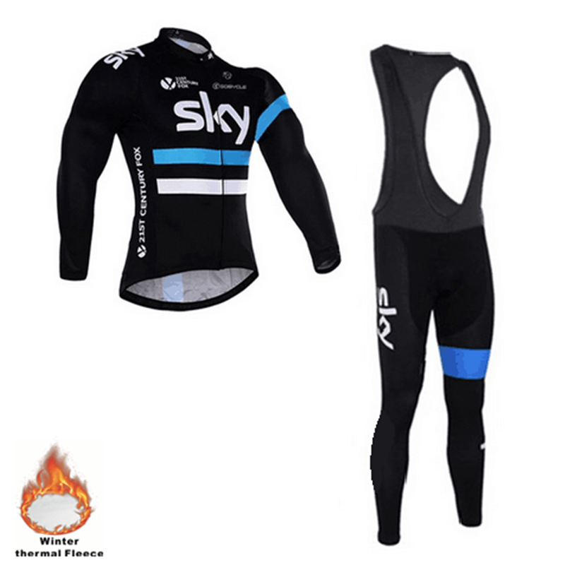 2016 sky winter warm wool team sky cycling dress long sleeve mountain bike bike jersey because air cycling clothing(China (Mainland))
