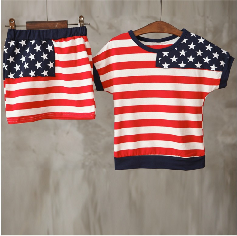 Retail clearance item 2015 girls boutique clothing Girl's summer clothing sets american flag print vest+l tiny skirt(China (Mainland))