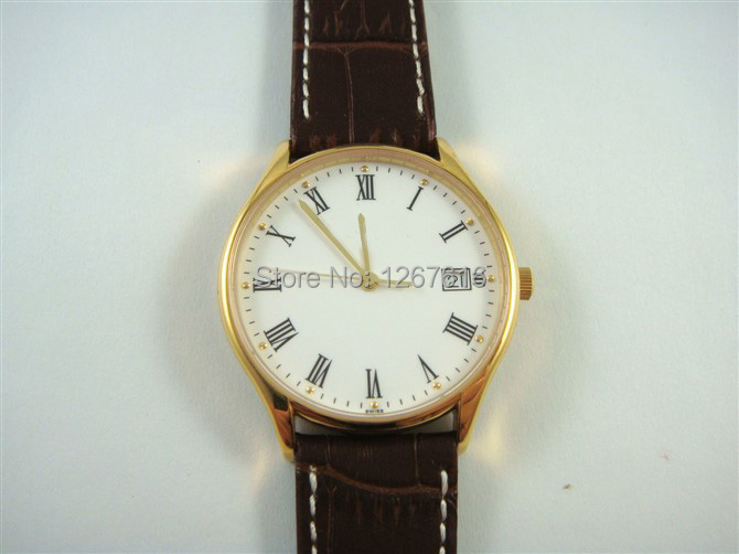 New 2014 men's fashion automatic mechanical watches white dial gold bezel brown leather strap calendar!(China (Mainland))