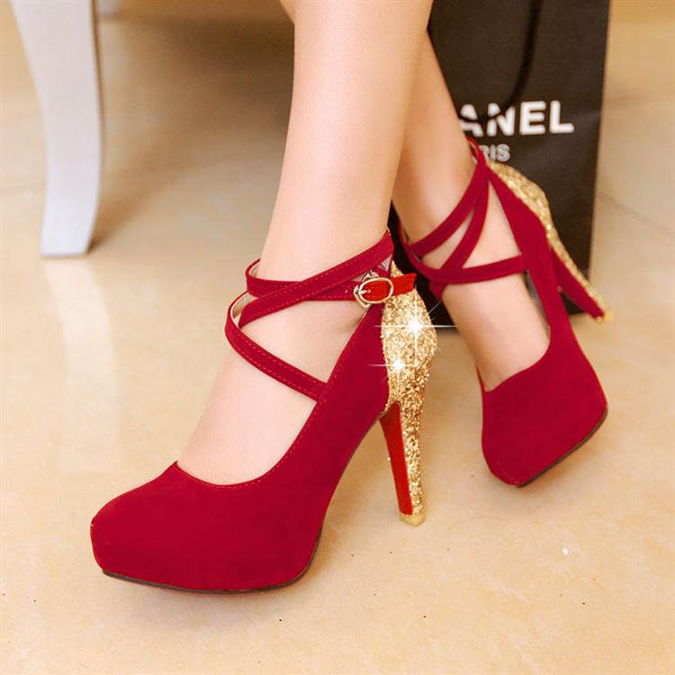 2014 women's shoes platform wedding shoes red festive thin high-heeled heels size 32-43.(China (Mainland))