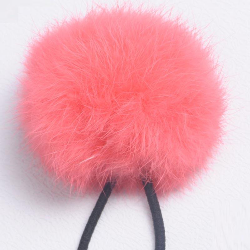 Women Girls 8cm Soft Furry Hair Ties Ball Rope Hair Band Pom Poms Accessories(China (Mainland))