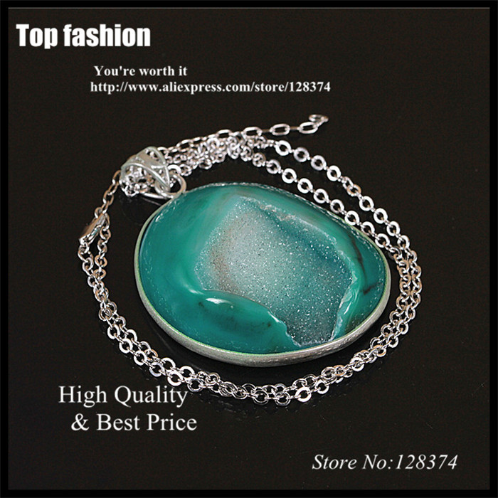 K-053 green quartz geode gem stone necklace,crystal druzy drusy stone pendant,silver plated agate stone chain necklace<br><br>Aliexpress