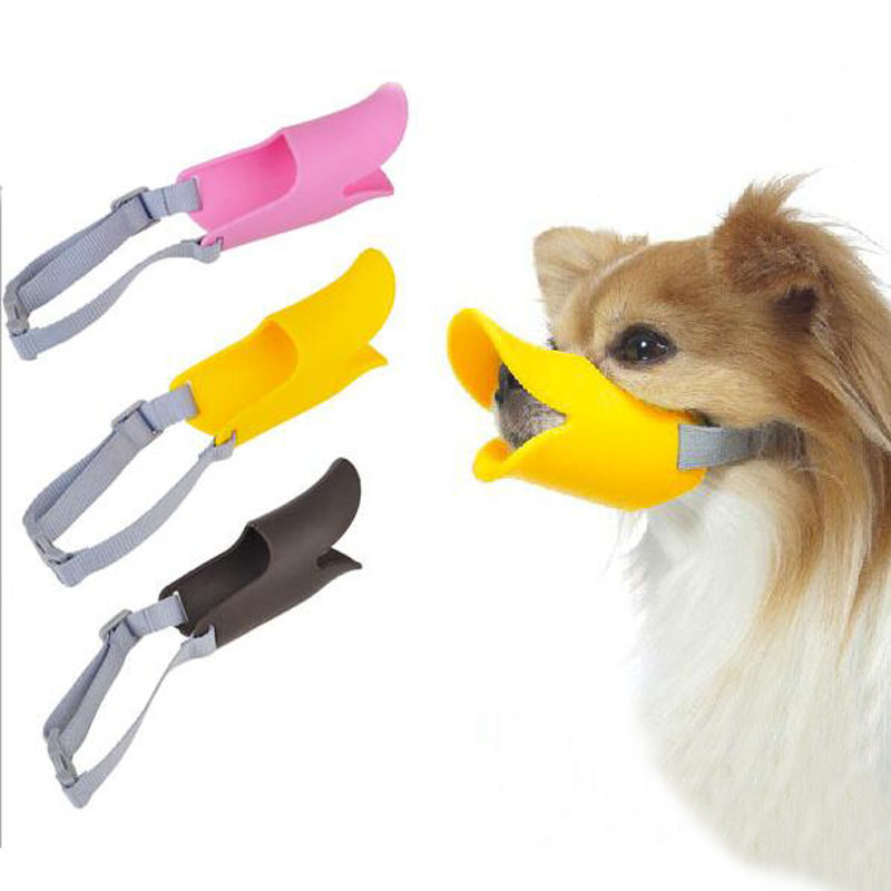 Small Medium Large Pet Dog Muzzle Soft silicone Design Duck Mouth Shape Mask Anti-Bite Muzzle Products For Dogs Animals 3 Color(China (Mainland))
