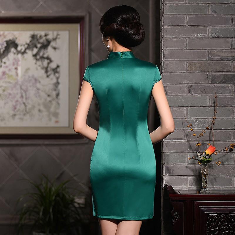 มาใหม่แฟชั่นแผนจีนชุดผู้หญิงผ้าไหมCheongsam QipaoมินิVestidoเดเฟสต้าขนาดSml XL XXL Z20160313 ถูก