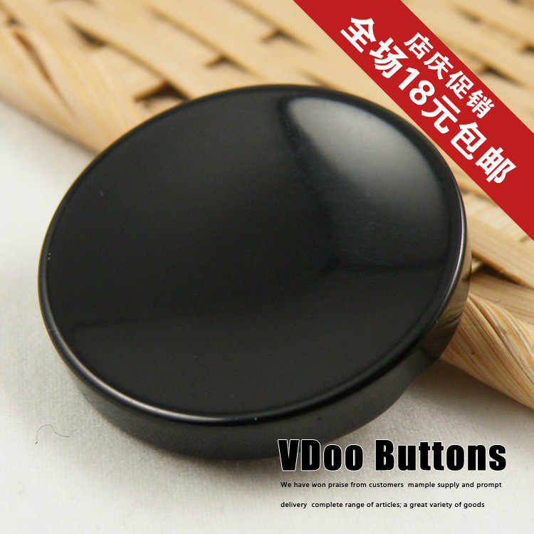 25mm, 20pcs/lot wholesale price top quality coat buttons glossy black overcoat button diy handmade plastic buttons free shipping(China (Mainland))