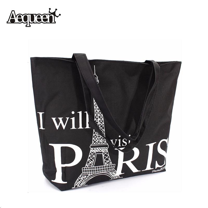 Large Space Women Canvas Handbag Zipper Shopping Shoulder Bag Paris Eiffel Tower Pattern Girls Beach Bookbag Casual Tote Fashion(China (Mainland))