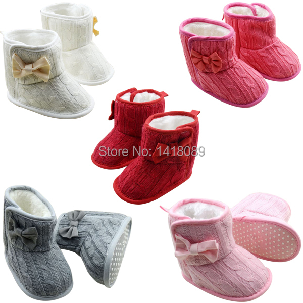 0806 New 5 Color Toddler Knited Faux Fleece Crib Snow Boots Kid Bowknot Woolen Yam Fur Knit Shoes(China (Mainland))