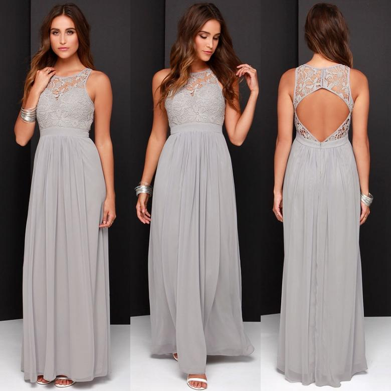2016 spring grey chiffon lace bridesmaid dresses long a for Plus size wedding party dresses