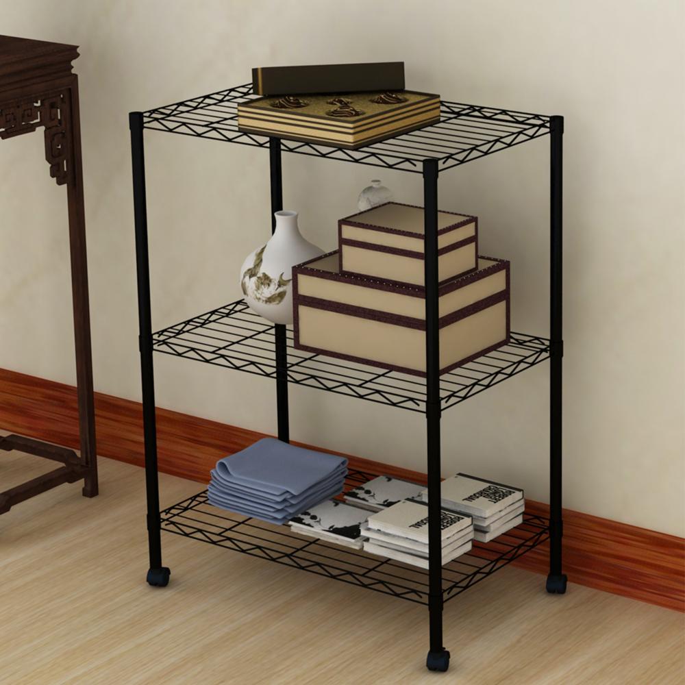1SET Commercial 3 Tier Shelf Adjustable Steel Wire Metal Shelving Rack for Bathroom, kitchen, Bedroom(China (Mainland))