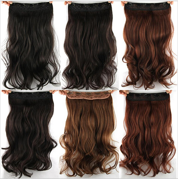"2015 Women Curly Clip In Hair Extention 23"" 100g Long Wavy Synthetic Hair Extension Heat Resistant Hairpiece 6 Colors Available"