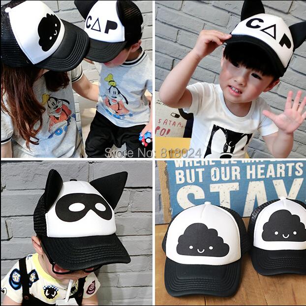 2016 новая коллекция весна лето INS бо-тегов любит крышки малыша мода девушки черные с белыми ухо шляпа ребенок вс шляпы 2-7Y