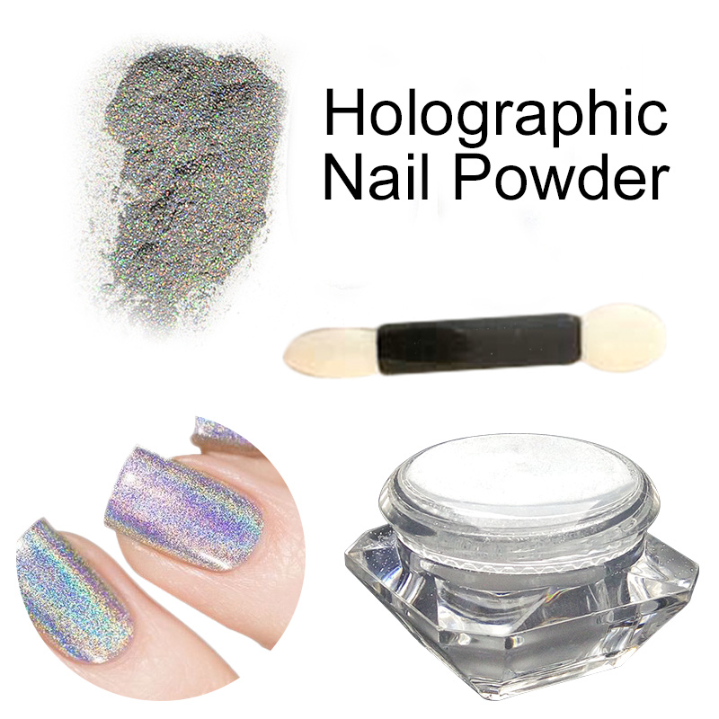 1 Box Holographic Laser Powder Nail Glitter Pigment Polish Nail Tools Rainbow Chrome Powder Metal Pigments Dust(China (Mainland))