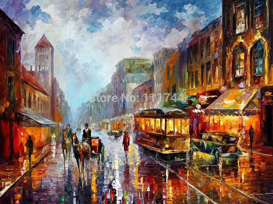 Los Angeles 1925 - Palette Knife Oil Painting On Canvas,Modern Landscape painting,Wall Art,High quality,Hand-painted,(China (Mainland))
