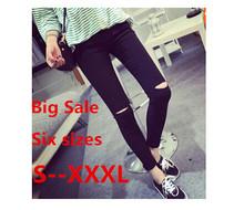 Большой Большой размер высокого эластичный хлопок женщины черный высокая талия рваные джинсы разорвал отверстие колено узкие брюки карандаш тонкий капри s-xxxl