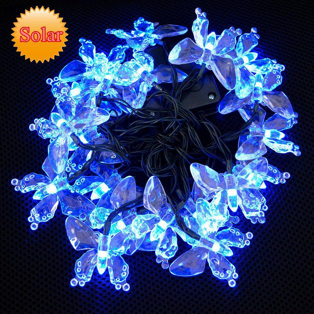 High quality Solar lamp NO need plug Colorful Butterflies Solar string lights 20 LEDs color change,Christmas LED Garden light(China (Mainland))