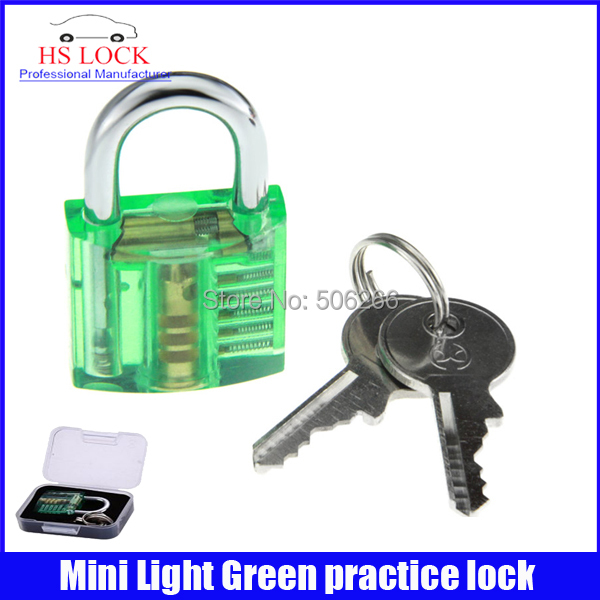 50pcs/lot Beautiful Design Mini Transparent Practice Padlock Training Tool Light Green Locksmith Practice supplies(China (Mainland))